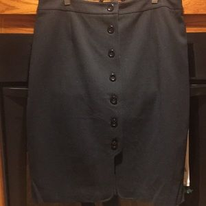 Black button front skirt fully lined